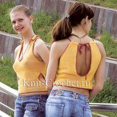 Связанные на спицах топики с воротником и с завязками 42-44 размера.