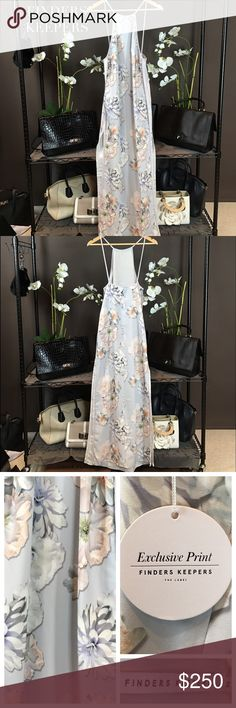 """FINDERS KEEPERS FLORAL PASTEL GREY BLUE MAXI DRESS NWT Finders Keepers 'Check The Rhyme' Digital Floral Grey Maxi Dress. This is a stunning dress designed in an exclusive floral print in hues of gray blue and blush. Side seam slits and hidden zip closure. Material: Poly Blend; Partially Lined. Size Small Approx Measurements: Length: Shoulder to hem: 60"""". SOLD OUT! Condition: Pristine-NWT Finders Keepers Dresses Maxi"""