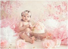 Vintage, girly, rose flower themed cake smash photography session for first birthday photographed by Massart Photography, a Rhode Island newborn, family and wedding photographer.  www.massartphotography.com