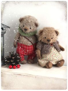"""crochet teddy bears do you have christmas mood yet? I have))) Small """"bear in hand"""" will bring it to you:) only inch made of of mohair stuffed sawdust and mineral granulate pri Teddy Bear Toys, Cute Teddy Bears, Teddy Bear Sewing Pattern, Christmas Teddy Bear, Crochet Teddy, Bear Doll, Bear Art, Felt Animals, Handmade Toys"""
