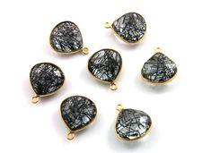 Black Rutile Bezel Heart Shape Gemstone Component by Beadspoint, $9.99