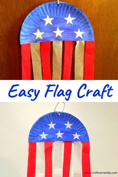 Super simple paper plate flag craft to make with your kids. Celebrate Memorial Day or of July with this patriotic craft. 4th July Crafts, Fourth Of July Crafts For Kids, Patriotic Crafts, Sunday School Crafts, Patriotic Party, 4th Of July, K Crafts, Daycare Crafts, Paper Plate Crafts