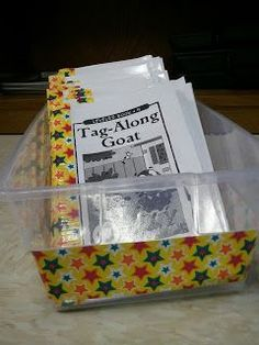 This shows you how to best put together and organize Reading A-Z books. She recommends that after you fold the pages and cut the laminating (only laminate the cover), you staple the books together, and then apply duct tape to act as binding. Different colored or patterned duct tape could represent different reading levels.