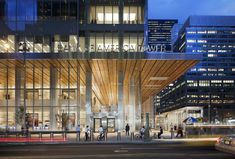 Bank of America Tower at One Bryant Park / Cook + Fox Architects,© David Sundberg / Esto Porte Cochere, Building Facade, Building Exterior, Commercial Architecture, Facade Architecture, Restaurant Hotel, Facade Lighting, Mall Design, Commercial Construction