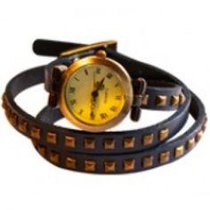 Britanny Wrap Watch Leather Bracelet Dark Blue