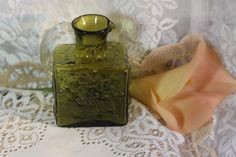 60-70\'s  Studio Glass Green Pitcher/Creamer. Starting at $15