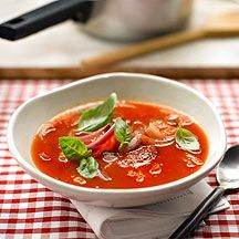 Scharfe Tomatensuppe mit roten Zwiebeln (1 PP)