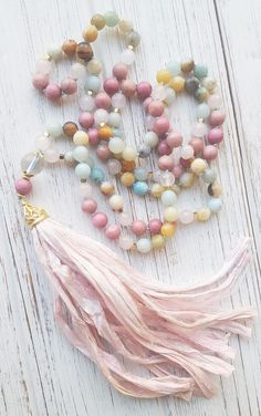 Peaceful Heart Mala Beads 18K Gold Calming Mala Necklace