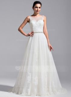 A-Line/Princess Scoop Neck Cathedral Train Tulle Lace Wedding Dress With Beading Sequins (002071768)