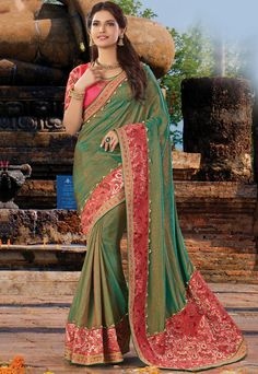 Pine Green Dual Tone Khadi #Silk #Saree