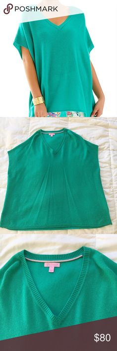 """Lilly Pulitzer Green Chloe Cashmere Pullover Sleeveless oversized sweater with poncho style fit. Has ribbing detail at neckline and side seams. Has 3"""" slits at hem on both sides. Sweater is 100% cashmere. Lilly Pulitzer Sweaters"""