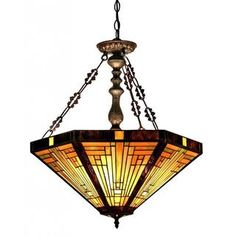 Chloe Tiffany Style Mission Design 3-light Dark Antique Bronze Pendant - Free Shipping Today - Overstock.com - 16476223 - Mobile