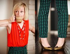 Cocktail Hour with The Effortles Chic!    Wardrobe: Marc by Marc Jacobs lighthearted polka dot pants and gold pumps with Joie red silk top and J.Crew  necklace!