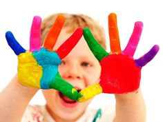 Color scheme, young kid with paint colors on hands