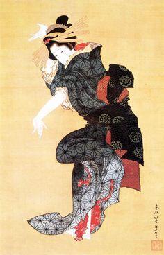 Japanese hanging scroll by Katsushika Hokusai , Dancing Courtesan
