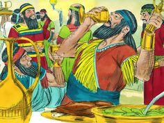 God writes on the wall His judgement of King Belshazzar. (Daniel 5:1-31): Slide 4