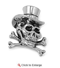 $48.99 * Stainless Steel Skull Bone with Hat Pendant