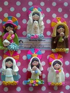 Virgenes Polymer Clay Dolls, Polymer Clay Projects, Polymer Clay Creations, Cake Decorating With Fondant, Baking Clay, Polymer Clay Christmas, Jumping Clay, Clay Figurine, Baby Shower