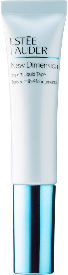 Estee Lauder New Dimension Expert Liquid Tape maakt als een coating de zones van het gezicht sterker waar versteviging het meest van pas komt: langs de jukbeenderen tot de slapen en de hele zone rond de ogen. Er ontstaat direct een gevoel van versteviging. Snelwerkende polymeren werken doelgericht en versterken de belangrijkste gezichtscontouren. De huid gaat er steeds steviger uitzien dankzij geconcentreerde hyaluronzuur-boosters en een pro-collageencomplex.