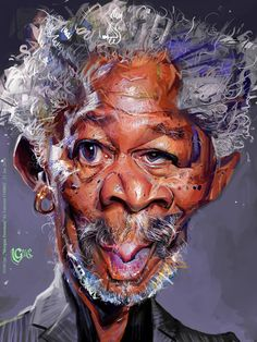 Morgan Freeman Caricature by Valentin Chibrit. Funny Face Drawings, Funny Faces, Cartoon Drawings, Cartoon Art, Horse Drawings, Funny Caricatures, Celebrity Caricatures, Celebrity Drawings, Caricature Artist