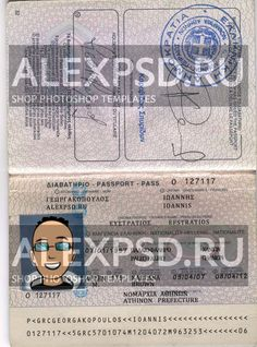 Greece passport - ALEXPSD Passport Template, Psd Templates, Greece, Photoshop, Personalized Items, Cards, Greece Country, Maps, Playing Cards