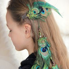 """Long Peacock Feather Hair Extension """"Summer Song"""" Green Feather Hair Clip Tribal Feather Hair Extension Boho Peacock Feather Hair Clip by Nastasy on Etsy"""
