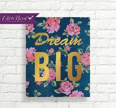 Dream Big inspirational wall art! Instant download.