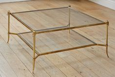 brass and glass coffee table. Rectangular Brass Finish And Glass Coffee Table | Wisteria; 48\ T