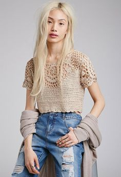 Forever 21 is the authority on fashion & the go-to retailer for the latest trends, styles & the hottest deals. Shop dresses, tops, tees, leggings & more! T-shirt Au Crochet, Cardigan Au Crochet, Pull Crochet, Mode Crochet, Crochet Shirt, Crochet Crop Top, Crochet Woman, Crochet Bikini, Crochet Clothes For Women