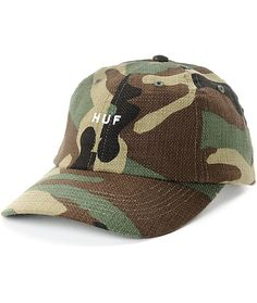 Don't feel lost with the addition of the Original Camo dad hat from HUF. A woven texture of army green camo with the HUF brand embroidered on the front will make your look stand out among the sea of bright colors that are others' hats.