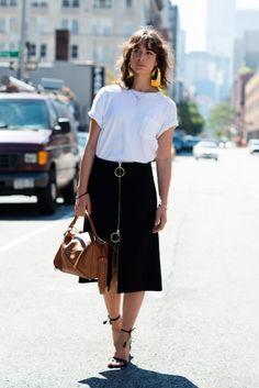 STREET STYLE black midi skirt, white top @roressclothes closet ideas #women fashion outfit #clothing style apparel street