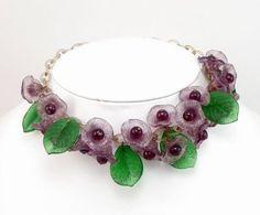 Exquisite MIRIAM HASKELL Glass Flower Necklace Gripoix