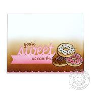 Sunny Studio Stamps: Sweet Shoppe Donuts Card by Mendi Yoshikawa Cool Cards, Diy Cards, Sunnies Studios, Studio Cards, Cupcake Images, Miss You Cards, Sweet Words, Clear Stamps, Homemade Cards