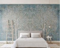 Floral Blue Forest Nordic Style TV Background Wall TV Bedroom Wall Mural Poster Livingroom Blue and White Flower Living Room Paint, Living Room Decor, Study Bed, Tree Wall Murals, Tree Wallpaper, Paper Wallpaper, Self Adhesive Wallpaper, Peel And Stick Wallpaper, Photo Wallpaper