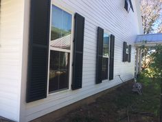 This customer had operable storm shutters installed in both classic louvered and Bahama styles. Exterior Shutters, Shades Blinds, Window Treatments, Garage Doors, Windows, Classic, Outdoor Decor, Home Decor, Derby