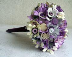 Vintage Button & Paper Flowers Wedding Bridal Bouquet Purple & Silver £60.00