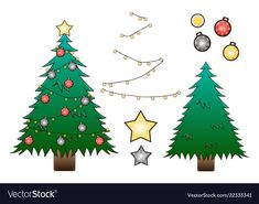 Christmas tree with decoration ball and star vector image on VectorStock Christmas Tree Decorations, Christmas Ornaments, Holiday Decor, Adobe Illustrator, Vector Free, Pdf, Stars, Illustration, Xmas Ornaments