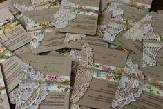 Vintage invitations with crochet and lace doilies embellishment trim, jute twine ribbon, one of a kind; For vintage ideas and goods shop at Estate ReSale & ReDesign, Bonita Springs, FL Handmade Wedding Invitations, Vintage Wedding Invitations, Diy Invitations, Wedding Stationary, Invites, Invitation Ideas, Doily Wedding, Wedding Cards, Rustic Wedding