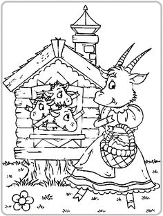 O neposlušných kůzlatech Farm Animal Coloring Pages, Coloring For Kids, Coloring Pages For Kids, Coloring Books, Wolf, Rainy Day Activities, Window Art, Stories For Kids, Disney Cartoons