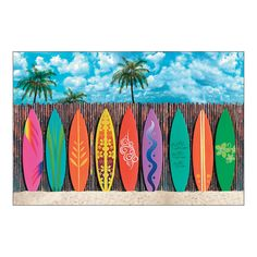 Surf's Up Surfboard Backdrop Banner - OrientalTrading.com