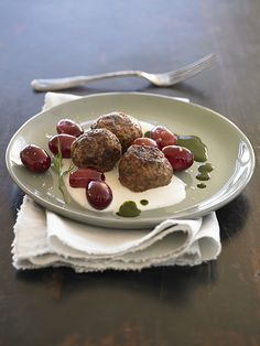 Lamb Meatballs with Blistered Grapes Chef Recipes, Snack Recipes, Snacks, Lamb Meatballs, Frozen, California, Meals, Fresh, Table