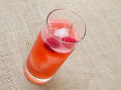 My Sharona Cocktail made with raspberries, white rum, lemon juice, agave, and ginger beer