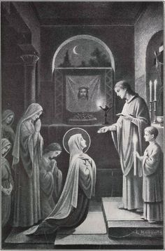 therurrjurr:  The Blessed Virgin Receiving Holy Communion from Saint John