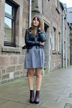The Little Magpie - Check smock dress (Mod Dolly), Jacket (Oh My Love), Boots (Missguided)
