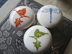 Ceramic Nature Knobs Colorful Birds and Dragonfly by SquidooInk, $15.00