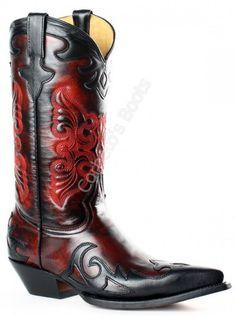 Corbeto's Boots   139 Juarez  Dama Rouge Noir   Bota cowboy Go West para mujer combinación piel negra y roja   Go West womens black and red cowboy boots