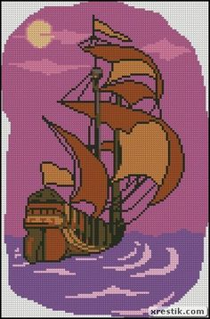 Ship scheme download nature landscape sea ship sunset embroidery