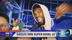 E.A.G.L.E.S Eagles! Joel Embiid featured on live TV lol @joelembiid  #phillygram #eagles #superbowl #flyeaglesfly #champs #underdog #cityofbrotherlylove #trustthepricess #sixers #joy #parade #philadelphia #win #instagram #football #fan