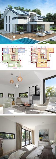 Design Haus modern mit Satteldach Architektur, Galerie & Büro Anbau - Einfamilienhaus bauen Grundriss Fertighaus Concept-M 211 Bien Zenker Hausbau Ideen - HausbauDirekt.de