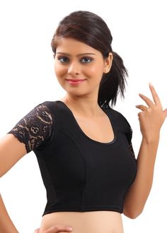 Fancy Lace Sleeves Black Sari Blouse Crop Top - A-11 | Saris and Things